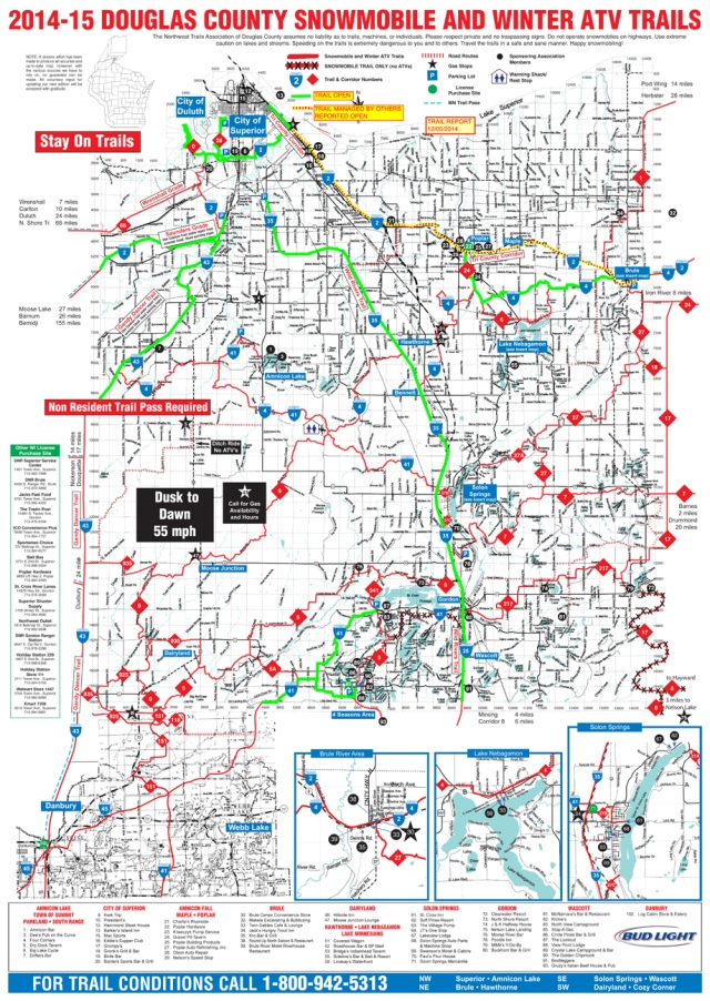 Douglas County WI winter 2014-15 snowmobile and ATV trails