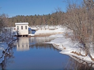 On the downstream side  of the Minong Flowage dam