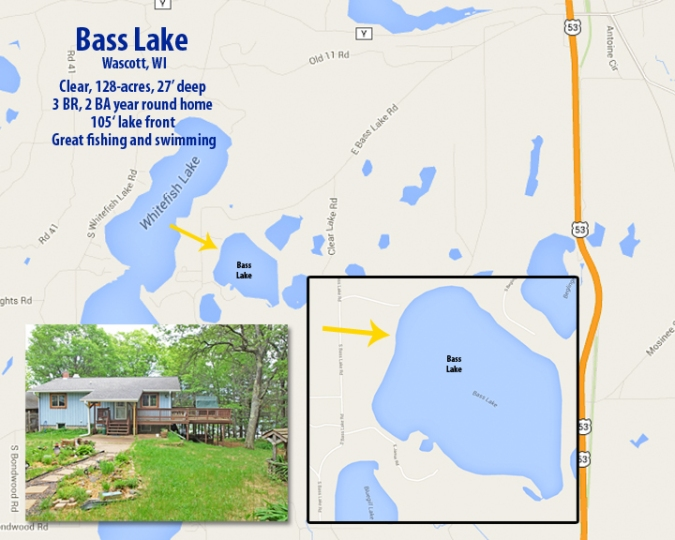 3 BR year round home on Bass Lake, Wascott, WI