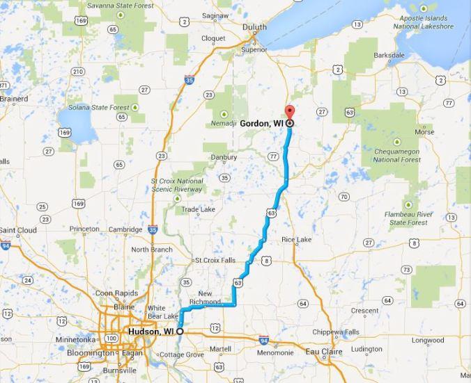 To Gordon, Wascott, Minong, Solon Springs, Barnes from Hudson-River Falls