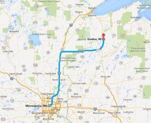 Minneapolis to Gordon, Wascott, Solon Springs, Barnes