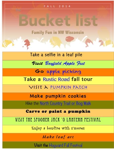 NW Wisconsin Fall 2014 Bucket List