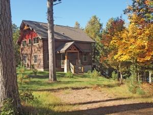 Timber-frame log home on clear Bony Lake, Barnes, WI