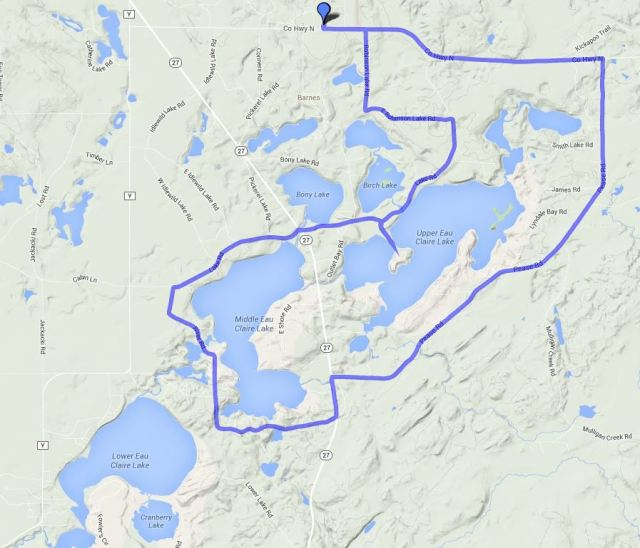 Barnes - Middle and Upper Eau Claire Lakes loop