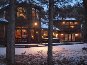 Whitefish luxury home at dusk